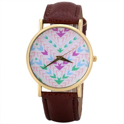Гаджет   Fashion Women Watch Analog with Arrows Design Round Dial Leather Watch Band Women