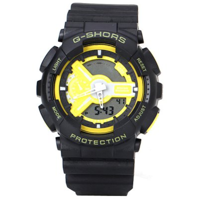 G - shors LED Watch with Double - movt Two Needles Round Dial and Rubber Band