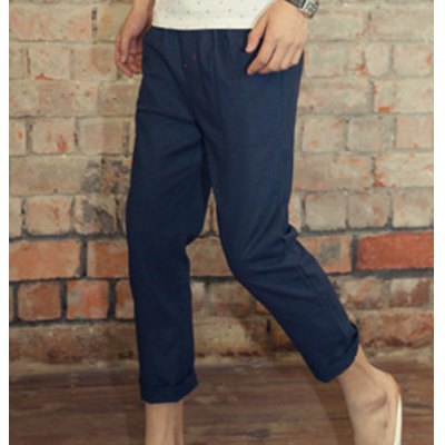 Гаджет   Casual Style Lace-Up Slimming Solid Color Design Straight Leg Men
