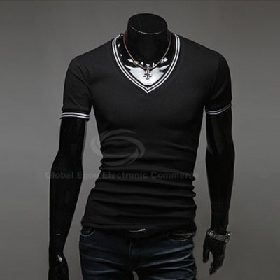 Гаджет   Sophisticated Style Stripe Pattern Splicing V-Neck Short Sleeve Summer T-Shirt For Men T-Shirts