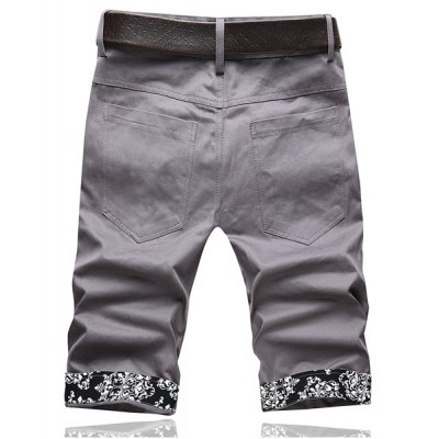 Summer Style Slimming Print Purfled Straight Leg Cotton Cropped Pants For Men
