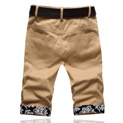 Гаджет   Summer Style Slimming Print Purfled Straight Leg Cotton Cropped Pants For Men Pants