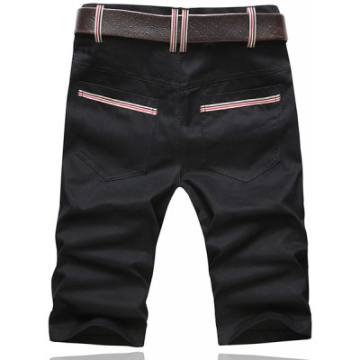Summer Style Slimming Solid Color Straight Leg Cotton Cropped Pants For Men