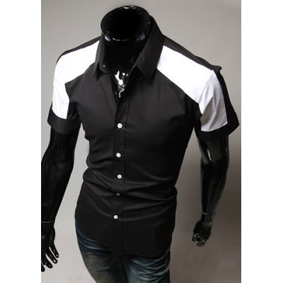 ФОТО Fashion Style Turn-down Collar Simple Design Splicing Short Sleeves Polyester Shirt For Men