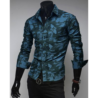 Fashion Style Turn-down Collar Camouflage Print Long Sleeves Polyester Shirt For Men
