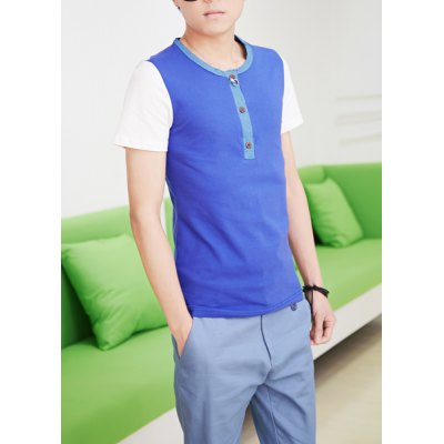 Гаджет   Fashion Style Round Neck Design Slimming Color Splicing Short Sleeves Men