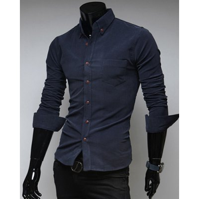 Fashion Style Turn-down Collar Solid Color Simple Design Long Sleeves Polyester Shirt For Men