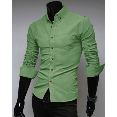 Гаджет   Fashion Style Turn-down Collar Solid Color Simple Design Long Sleeves Polyester Shirt For Men Shirts