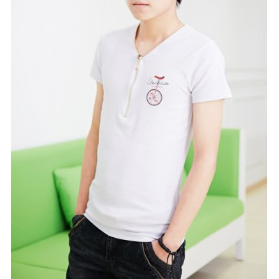 Гаджет   Slimming Trendy Zipper Embellished V-Neck Bicycle Print Short Sleeves Men