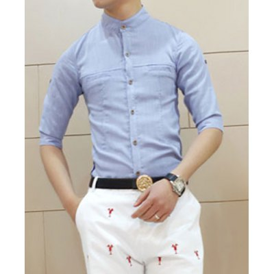 Гаджет   Korean Style Turn-down Collar Solid Color Slimming Half Sleeves Linen Shirt For Men Shirts
