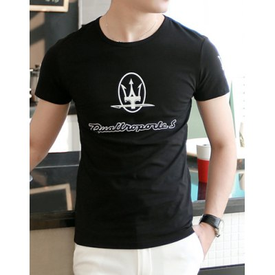 Гаджет   Stylish Round Neck Slimming Halberd Print Short Sleeve Men