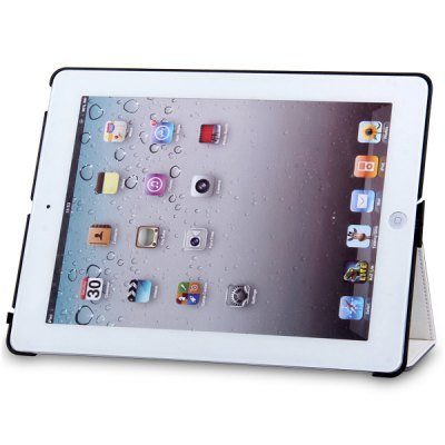 ФОТО Artificial Leather Material and Plastic Handheld Stand Case with Sound Enhancement Function for iPad 4