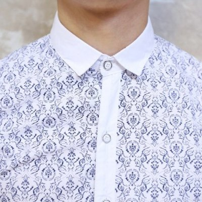 Гаджет   Korean Style Turn-down Collar Slimming Tiny Floral Print Short Sleeves Polyester Shirt For Men Shirts