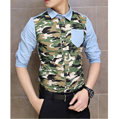 Гаджет   Fashion Style Turn-down Collar Camo Splicing Half Sleeves Men