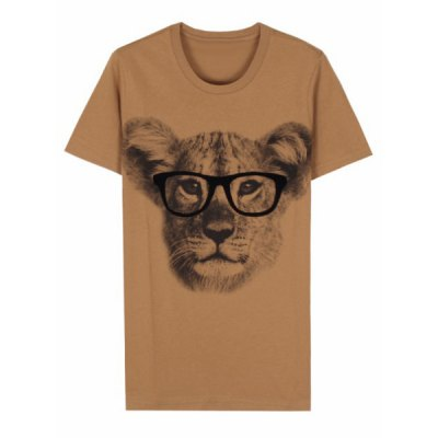 Fashion Style Round Neck Leopard Print Short Sleeves Cotton T-Shirt For Men