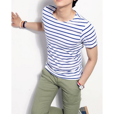 Гаджет   Fashionable Style Round Neck Full Striped Print Short Sleeves Cotton T-Shirt For Men T-Shirts