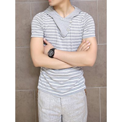 Fashion Style Hooded Striped Print Short Sleeves Cotton T-Shirt For Men