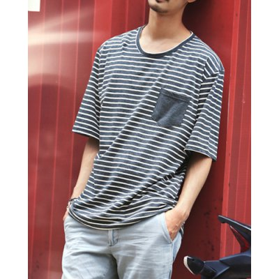 Гаджет   Fashion Style Round Neck Loose-Fitting Striped Print Short Sleeves Cotton T-Shirt For Men T-Shirts