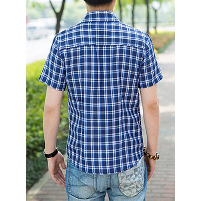 Гаджет   Stylish Shirt Collar Slimming Multicolor Checked Design Short Sleeve Men