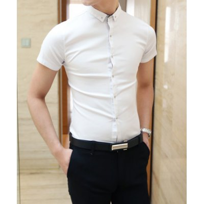 Гаджет   Korean Style Turn-down Collar Slimming Metal Button Embellished Solid Color Short Sleeves Men