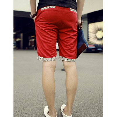 Гаджет   Slimming Trendy Hit Color Floral Flanging Straight Leg Cotton Shorts For Men Shorts