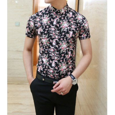 Гаджет   Fashion Style Turn-down Collar Button Embellished Floral Print Slimming Short Sleeves Men