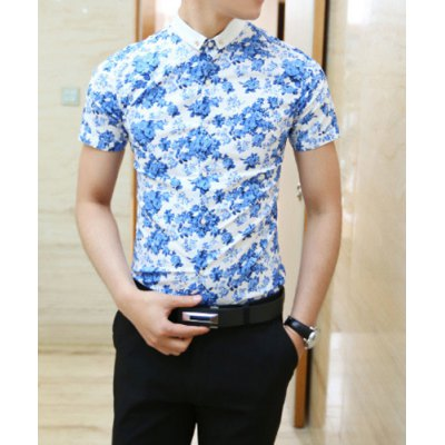 Гаджет   Korean Style Turn-down Collar Slimming Flower Print Short Sleeves Men
