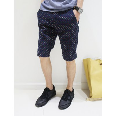 Гаджет   Fashion Style Slimming Colorful Polka Dot Print Straight Leg Cotton Shorts For Men Shorts