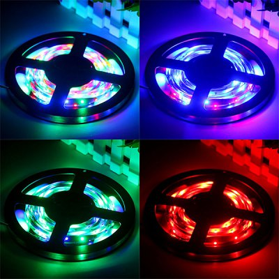 5M 18W 300 - SMD 3528 LED RGB Decoration Light Strip with Power Adapter and 44 Keys Remote Control