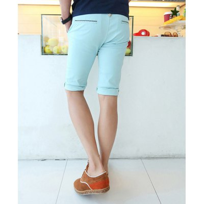 Гаджет   Casual Style Slimming Solid Color Straight Leg Polyester Shorts For Men