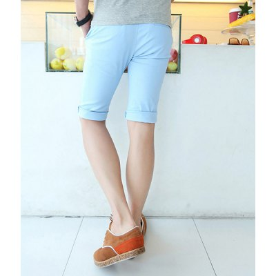Гаджет   Casual Style Slimming Solid Color Straight Leg Polyester Shorts For Men Shorts