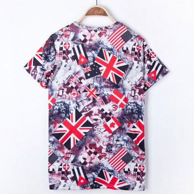 Stylish Round Neck Slimming 3D Flag Print Hit Color Short Sleeves Men's Polyester T-Shirt