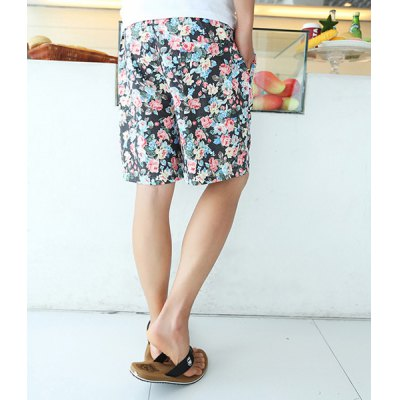 Гаджет   Casual Style Slimming Colorful Floral Print Straight Leg Polyester Shorts For Men