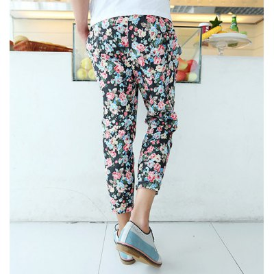 Гаджет   Casual Style Slimming Colorful Floral Print Straight Leg Polyester Cropped Pants For Men Pants