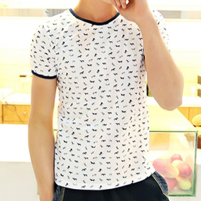 Гаджет   Fashion Style Round Neck Full Horse Print Short Sleeves Cotton T-Shirt For Men T-Shirts