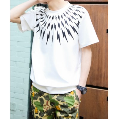 Гаджет   Casual Style Round Neck Slimming Geometric Print Solid Color Short Sleeves Men