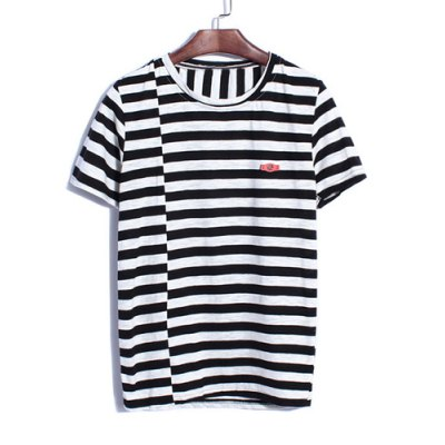 Гаджет   Fashion Style Round Neck Personality Stripes Splicing Hit Color Slimming Short Sleeves Men