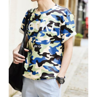 Гаджет   Camouflage Style Round Neck Personality Letters Print Slimming Short Sleeves Men