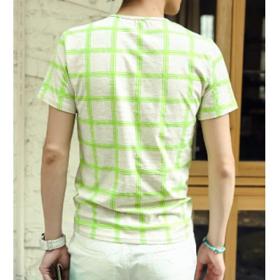 Гаджет   Slimming Trendy Round Neck Letters Print Colorful Plaid Design Short Sleeves Men
