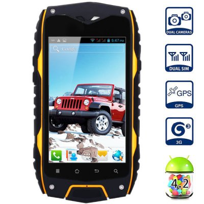 Android 4.2 Z6 3G Smartphone MTK6572 Dual Core 1.0GHz 4GB ROM GPS Waterproof Sho