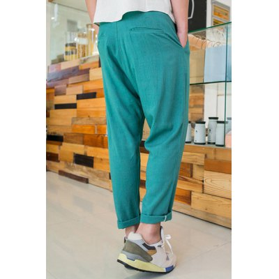 Гаджет   Retro Style Loose-Fitting Solid Color Straight Leg Linen Pants For Men