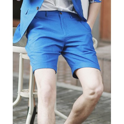 Гаджет   Simple Style Zipper Fly Design Slimming Button Embellished Solid Color Straight Leg Men