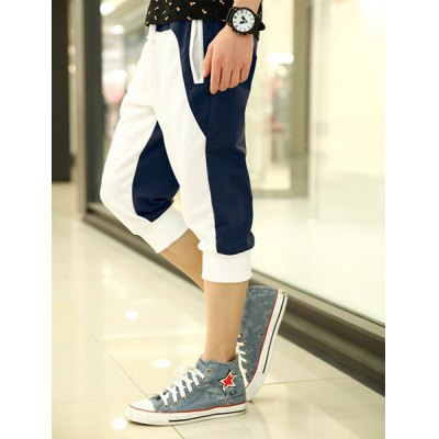 Summer Style Slimming Color Block Casual Straight Leg Polyester Cropped Pants For Men