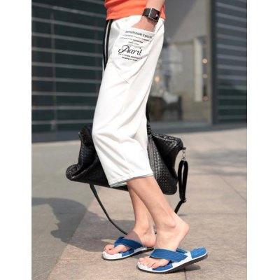 Summer Style Slimming Drawstring Embellished Straight Leg Polyester Cropped Pants For Men