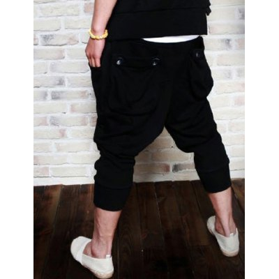 Summer Style Loose-Fitting Button Embellished Straight Leg Polyester Cropped Pants For Men