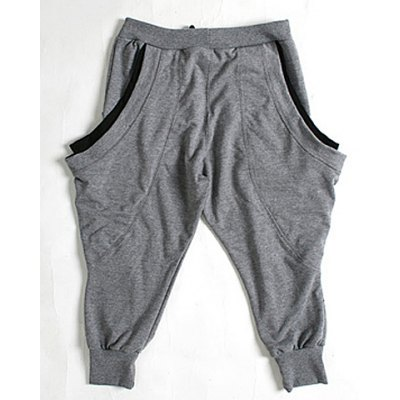 Summer Style Loose-Fitting Color Block Straight Leg Polyester Cropped Pants For Men