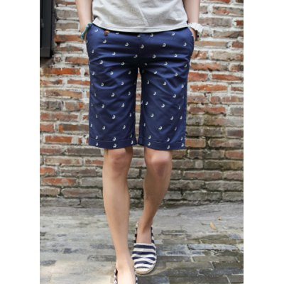Гаджет   Fashion Style Button Fly Boats Print Button and Leather Embellished Straight Leg Men
