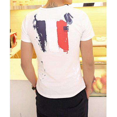 Гаджет   Fashion Style Round Neck Scrawl Print Short Sleeves Polyester T-Shirt For Men T-Shirts