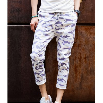 Гаджет   Camouflage Style Elastic Waist Slimming Pocket Embellished Ruffles Narrow Feet Men