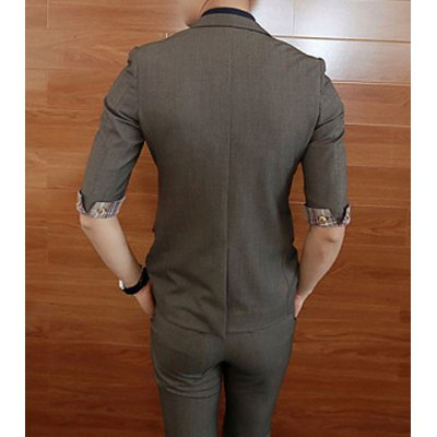 Гаджет   Fashion Style Lapel Solid Color Checked Cuffs Splicing Slimming Half Sleeves Men